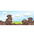 Nature scene with rocks and field vector image vector image