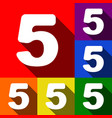 number 5 sign design template element set vector image vector image