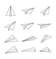 paper plane or aircraft simple outline style icon vector image
