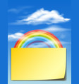 paper template with rainbow in the sky vector image vector image