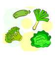 pattern of green vegetables on a light background vector image