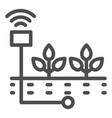 planting line icon sprout care vector image