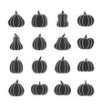 pumpkin black silhouette icon set vector image vector image