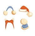 santa hat with pompons and earmuffs vector image
