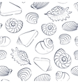 Seashells white seamless background vector image vector image