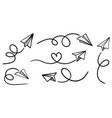 set doodle paper plane icon hand drawn paper vector image