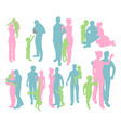 silhouettes of a happy family vector image vector image