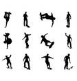 skating skateboarder silhouettes vector image vector image
