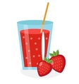 Strawberry juice in a glass Fresh isolated on vector image vector image