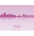Tallinn skyline in purple radiant orchid vector image