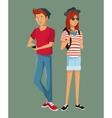 teens hispter style boy girl sunglasses bag hat vector image