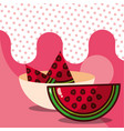 watermelon in bowl harvest fruit tasty dotted vector image