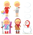 Winter holidays set of cartoon women vector image