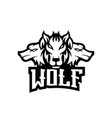 wolf mascot logo black and white version vector image vector image