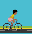 woman riding a bicycle vector image