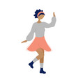 young dancing tiny stylish black woman vector image vector image
