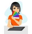 graphic designer showing pantone color palette vector image