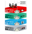 3d overhead platforms with workers for business vector image