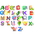 animals alphabet set vector image vector image