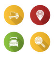 auto workshop flat design long shadow glyph icons vector image