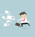 businessman running away from tax invoice vector image