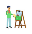 cartoon artist character standing near easel with vector image