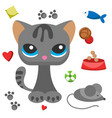 cat and mouse cute kitty pet cartoon cute animal vector image