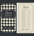 checkered menu for restaurant with price and crown vector image