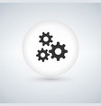 circle bubble button with three gears icon vector image vector image