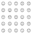 Circle face line icons on white background vector image vector image
