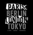 cities typography 009 vector image vector image