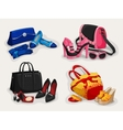 Collection of women bags shoes and accessories vector image vector image