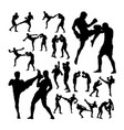 couple thai boxing martial art silhouettes vector image vector image