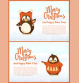decorated winter greeting card by penguins vector image vector image