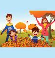 family celebrates autumn season outdoors vector image