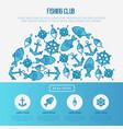 fishing club concept in half circle vector image vector image