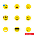 flat icon emoji set of happy joy hush and other vector image vector image