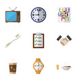 flat icon oneday set of timer cappuccino router vector image vector image