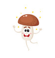 funny porcini mushroom character shining from vector image vector image