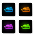 glowing neon ship icon isolated on white vector image vector image