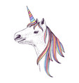 hand drawn head of unicorn vector image vector image