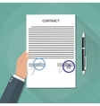 hand holds contract documents vector image vector image