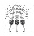 happy birthday to you stamp badge sticker card vector image