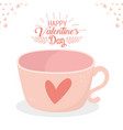 happy valentines day romantic coffee cup heart vector image