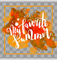 hello summer orange colored hand lettering vector image vector image