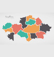 kazakhstan map with states and modern round shapes vector image vector image