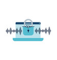 laptop with padlocked icon vector image vector image