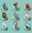 law color isometric icons vector image