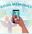 looking at photo from vacation vector image