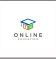 media education logo digital school book online vector image vector image